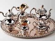 Pesti ezüst tea és kávé kínáló szett