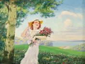 Hölgy virágcsokorral a Balatonparton