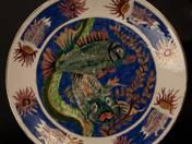 Zsolnay dísztál (hal dekorral)