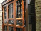 Biedermeier three-door inlaid bookcase