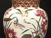 Zsolnay váza madár- és virágdekorral