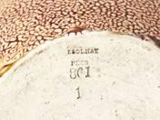 Zsolnay díszkorsó azték plasztikus dekorral tigermázzal
