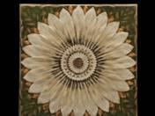 Zsolnay díszcsempe plasztikus virágdekorral