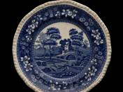 English dinner plate with riverside landscape 4pcs