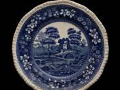 Angol lapos tányér folyóparti tájjal 4db