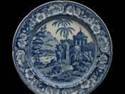 Angol tál és 6 db lapos tányér indiai dekorral
