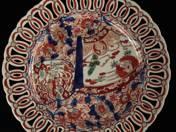 Áttört dísztál imári dekorral