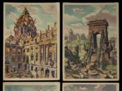 12 pcs postcards about the post-war Budapest