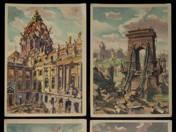 12 db világháború utáni Budapestet ábrázoló képeslap