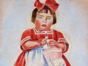 Kislány piros masnival