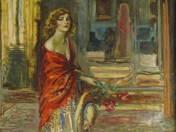 Nő virággal