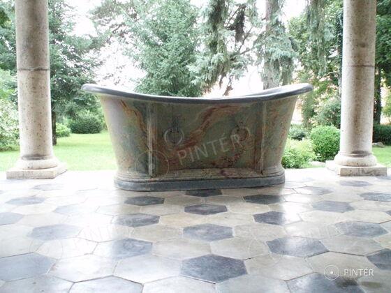 Francia kád (festett bádog, 75 x 175 x 72 cm, jelzett) kikiáltási ár: 380.000 HUF