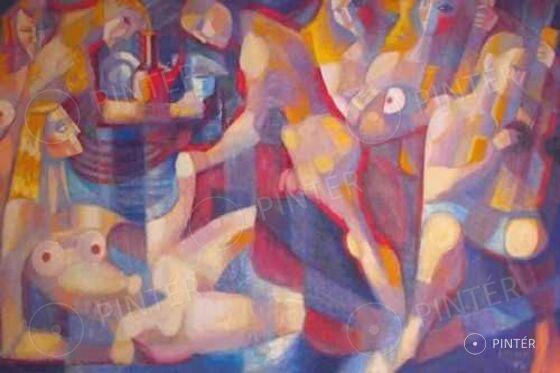 Rafael Győző Viktor (1900-1981): Bacchanália (olaj, fa, 126 x 180 cm, j.j.l.: Rafael) kikiáltási ár: 3.000.000 HUF