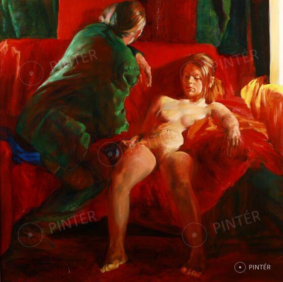 Lajta Gábor (1955): Vörös kanapén (olaj, vászon, 100 x 100 cm, j. b.l.: Lajta '06) Kikiáltási ár: 300.000 HUF