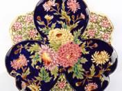 Zsolnay kínálótál virág dekorral
