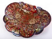 Zsolnay kínáló plasztikus virágdekorral