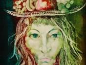 Női portré gyümölcsös kalappal