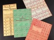4 db Budapesti közellátási szelvényív, budapesti zsiradékjegy, húsjegy, szappanjegy 1945-ből