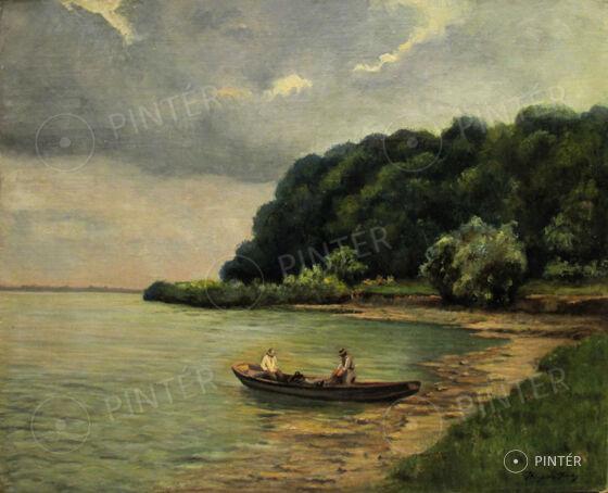 Kárpáthy Jenő (1870-1950): Vízparti halászok (olaj, vászon, 80 x 100 cm, j.j.l.: Kárpáthy Jenő) Kikiáltási ár: 220.000 HUF