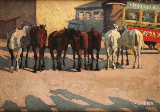 Budai Sándor: Pihenő lovak