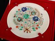 Indiai márvány tányér inkrusztációval