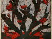 Kaktusz piros virággal