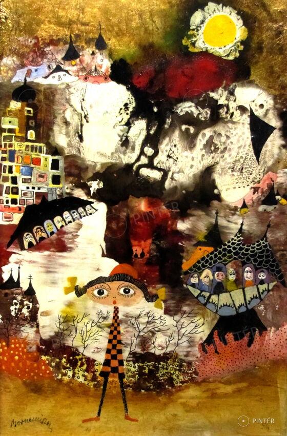 Bornemisza László: Mediterrán város VIII. (olaj, farost, 30 x 20 cm, j.b.l.: Bornemissza) Kikiáltási ár: 140.000 HUF