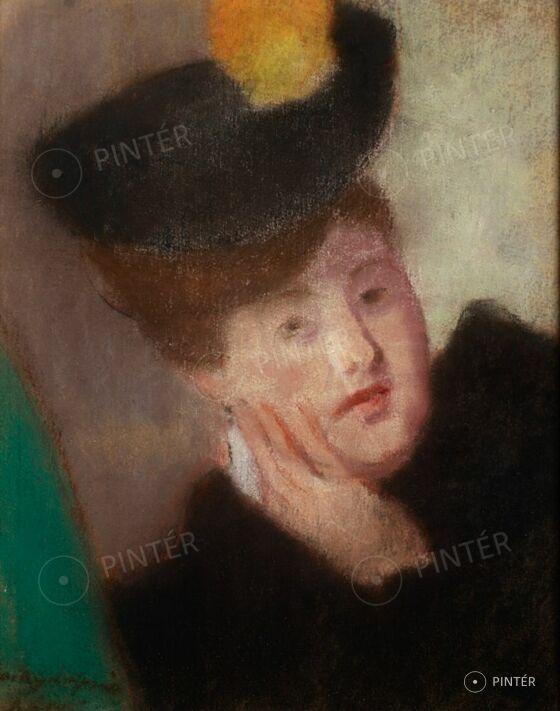 Rippl-Rónai József (1861-1927): Kalapos hölgy portréja (pasztell, papír, 50 x 40,5 cm, j.b.l.: Rónai) Kikiáltási ár: 1.800.000 HUF
