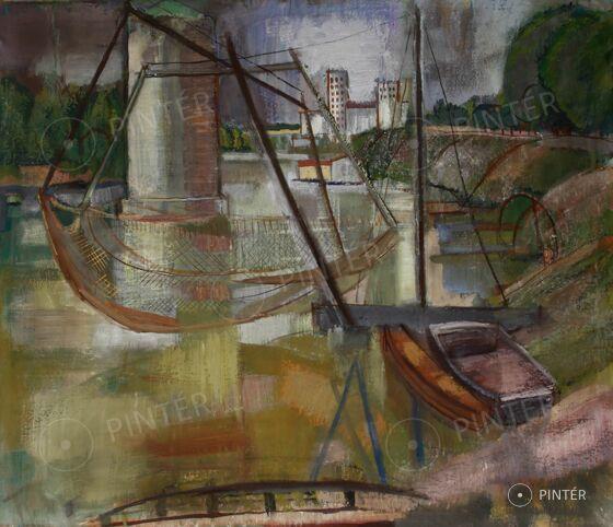 Mattioni Eszter (1902-1993): Tisza (tempera, vászon, 77 x 90 cm, j.j.l.: Mattioni E, hátoldalon: Nemzeti Szalon etikett) Kikiáltási ár: 950 000 Ft