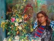Lány virágcsokorral