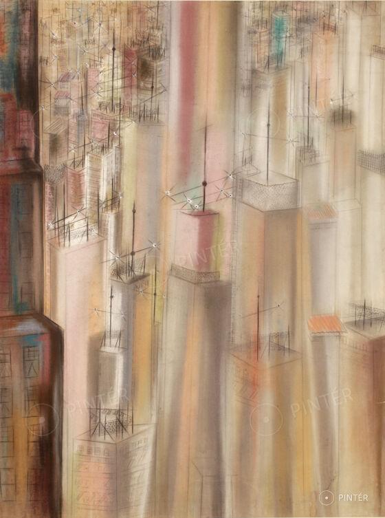 Gross Bettelheim Jolán: Felhőkarcolók és antennák (pasztell, papír, 64 x 48,5 cm, j.j.l.: Gross Bettelheim) kikiáltási ár: 3.500.000 HUF