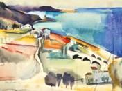 analógia: Aba Novák Vilmos: TENGERPART, 1930  Akvarell, papír, 38x55,5 cm  Jelezve balra lent: Aba Novák 1930