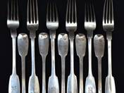 Viennese Antique Silver Fork (12 pieces)