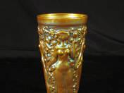 Zsolnay pohár szőllőszüret dekorral