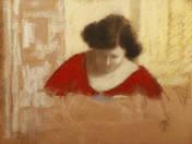 Nő vörösben (Lazarin babot válogat)