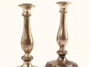 Pesti antik ezüst gyertyatartó pár
