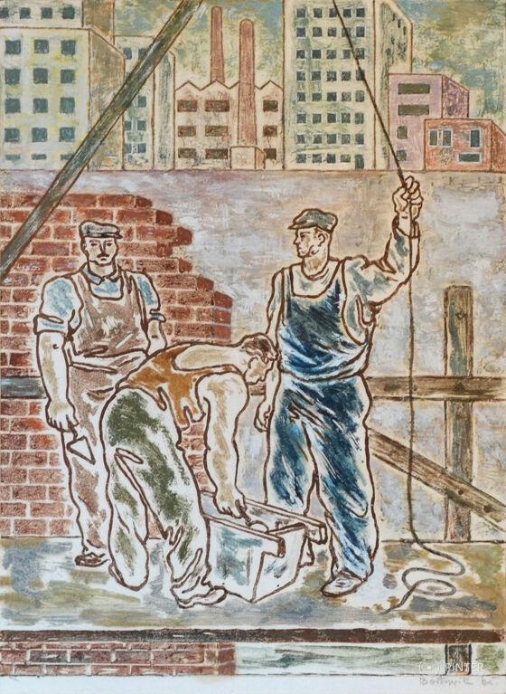 Bortnyik Sándor (1893-1976): Kőművesek (monotípia, papír, 31 x 22 cm, j.j.l.: Bortnyik 65) Kikiáltási ár: 280.000 HUF