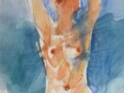 Ülő akt (kék)