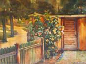 Bokor a kerítés mellett