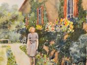 Helga a ház előtt