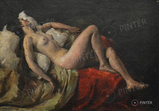 Mihalovits Miklós (1888-1960): Fekvő akt (olaj, rétegelt lemez, 50 x 70 cm, j.j.l.: Mihalovits M 1932) Kikiáltási ár: 120.000 HUF