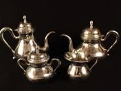 Pesti ezüst kávés-, teáskészlet (4 db)