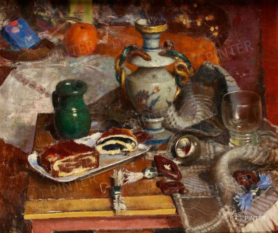 Kontuly Béla (1904-1983): Karácsonyi csendélet (olaj, vászon, 60 x 70,5 cm, j.k.l.: Kontuly Béla 1961) Kikiáltási ár: 440.000 HUF