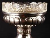 Pesti ezüst kínálótál üvegbetéttel