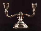 Pesti ezüst kétágú gyertyatartó