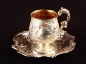 Bécsi ezüst rokokó kávéscsésze aljjal