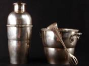 Art Deco ezüst shaker és jégtartó, csipesszel