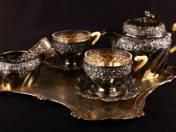 Kétszemélyes bécsi ezüst kávéskészlet
