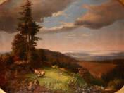 Komlóssy Ferenc: Thüringi erdő részlet (restaurálás előtt)
