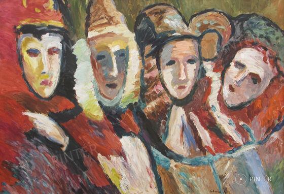 Schéner Mihály (1923-2009): Karneválozók (olaj, farost, 68 x 99 cm, j.j.l.: Schéner) ikiáltási ár: 180.000 HUF